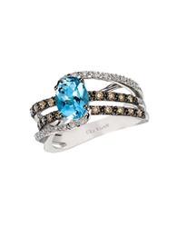 Le Vian Chocolatier Ocean Wave Vanilla Diamond Chocolate Diamond Aquamarine And 14K White Gold Ring Blue