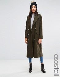 Asos Tall Coat With Oversized Styling Khaki Green