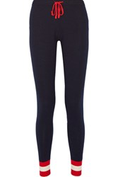 Madeleine Thompson Eshon Striped Cashmere Track Pants Navy