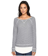 Joie Zerika Top Heather Peacoat Porcelain Heather Pearl Women's Long Sleeve Pullover Gray