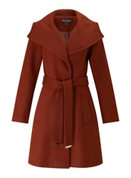 Miss Selfridge Rust Wrap Fit And Flare Coat Orange
