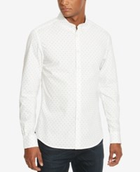 Kenneth Cole New York Men's Slim Fit Geometric Long Sleeve Shirt White Combo