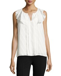 Nanette Lepore Split Neck Lace Seam Top Marshmello
