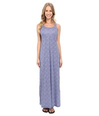 Columbia Freezer Maxi Dress Ocean Water Mosaic Dot Women's Dress Blue