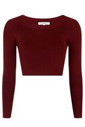 Cropped Knitted Top By Glamorous Burgandy