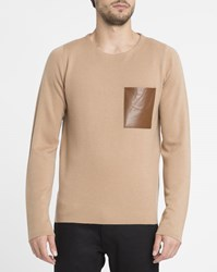 Sandro Beige Crew Neck Jumper With Leather Chest Pocket