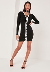 Missguided Black And White Lace Up Bodycon Dress