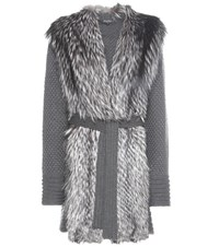 Salvatore Ferragamo Fur Trimmed Knitted Virgin Wool Coat Grey