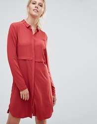 Pieces Pips Shirt Dress Brick Red
