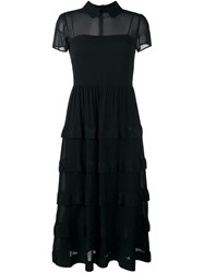 Red Valentino Semi Sheer Layered Dress Black
