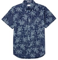 Gant Rugger Slim Fit Printed Button Down Collar Cotton Shirt Indigo