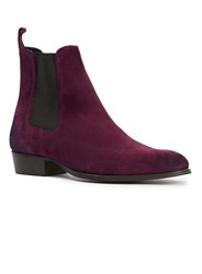 Topman House Of Hounds Burgundy Suede Chelsea Boots Red