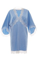Francesco Scognamiglio Short Sleeve Lace Pullover Mini Dress Light Blue