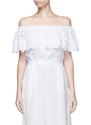 Miguelina 'Dakota' Geometric Embroidery Off Shoulder Cropped Top White