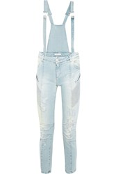 Balmain Distressed Denim Overalls Blue