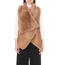 Drome Sleeveless Leather And Shearling Gilet Sepia