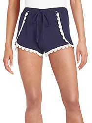 Saks Fifth Avenue Red Scalloped Lace Trimmed Shorts Navy
