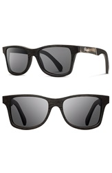 Shwood 'Canby' 55Mm Acetate And Wood Sunglasses Dark Walnut Pearl Grey Grey