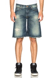Off White Cut Off Shorts In Blue
