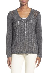 Women's Lafayette 148 New York Open Stitch V Neck Sweater