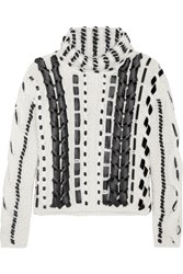 Altuzarra Caravan Leather Trimmed Cable Knit Wool Blend Sweater Cream
