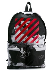Off White Abstract Print Backpack Black