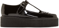 Underground Black Patent Leather T Strap Creepers