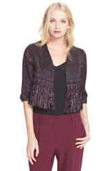 Milly Fringe Tweed Crop Bolero Burgandy