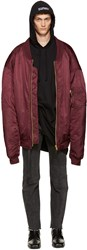 Vetements Burgundy Oversized Reworked Bomber Jacket