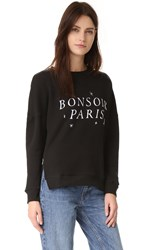 Chrldr Bonsoir Paris Side Zip Sweatshirt Black
