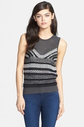 Chelsea 28 Textured Mixed Knit Shell Gray