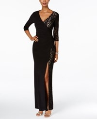 R And M Richards Petite Lace Faux Wrap Gown Black