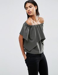 Asos Tiered Off Shoulder Top Khaki Green