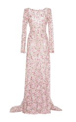 Luisa Beccaria Tulle Embroidered Sheath Maxi Dress Pink
