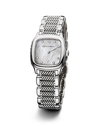 David Yurman Thoroughbred 25Mm Stainless Steel Quartz With Diamond Markers White
