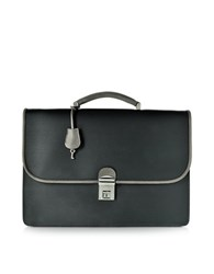 Pineider City Chic Gray And Black Fabric And Leather Briefcase