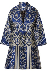 Temperley London Isidora Jacquard Coat Blue