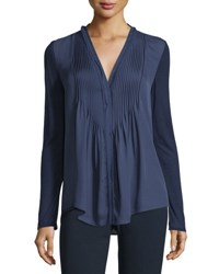 Elie Tahari Willow Long Sleeve Pleated Bib Blouse Marine
