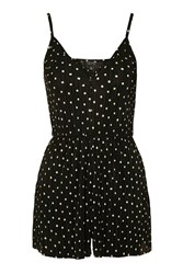 Topshop Pleated Polka Dot Playsuit Monochrome