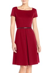 Women's Ellen Tracy Pleat Ponte Fit And Flare Dress Red