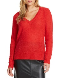 424 Fifth V Neck Sweater True Red