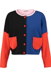 Vivetta Cropped Color Block Merino Wool Cardigan Multi