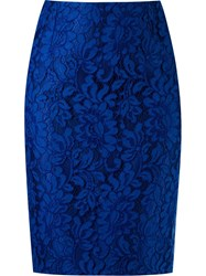 Martha Medeiros Lace Pencil Skirt Blue