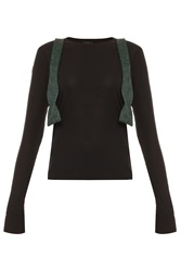 Kage Ribbed Sweater With Green Bow Tie
