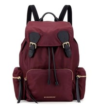Burberry London England Leather Trimmed Backpack Red