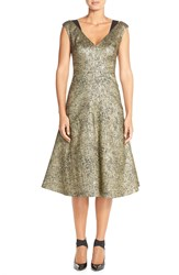 Tracy Reese Metallic Midi Dress Antique Gold