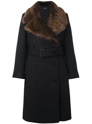 Joseph Fur Collar Coat Black
