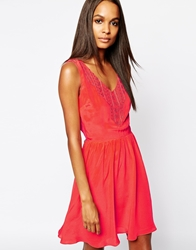 Aryn K Silk Embroidery Dress With V Back Detail Coral