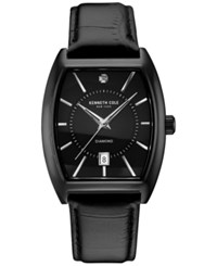Kenneth Cole Men's Diamond Accent Ion Plated Black Leather Strap Watch 48X38mm 10030820
