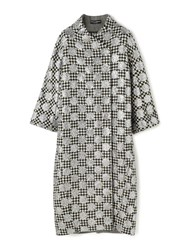 Dolce And Gabbana Sparkle Polka Dot Dogtooth Cocoon Coat Silver
